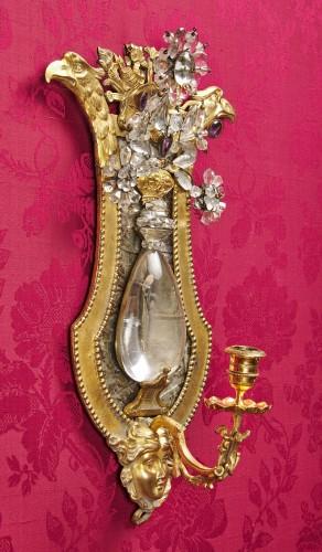 Antiquités - Pair of Swedish rock crystal, amethyst and gilt bronze girandoles, c. 1800