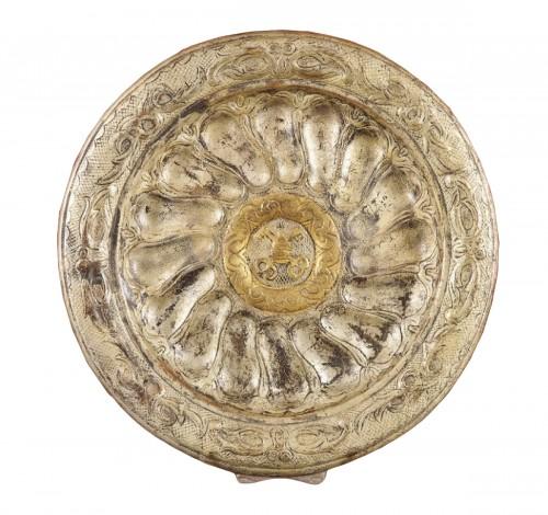 A large Italian rococo papier maché (cartapesta) circular tray, c. 1730