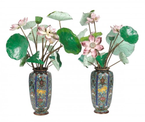 Two bouquets of 19th century water lilies in Canton enamel
