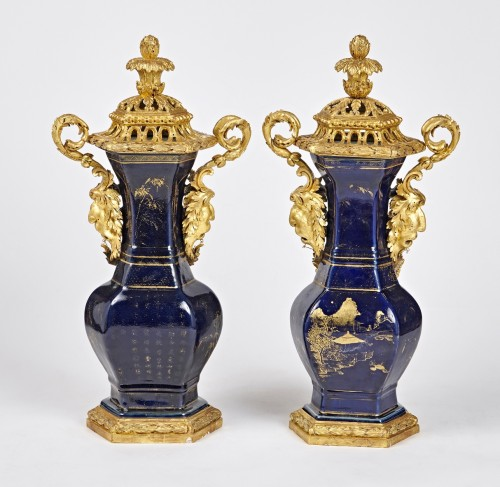 A pair of powdered blue vases with Piedmontese gilt wood mounts c. 1780 -