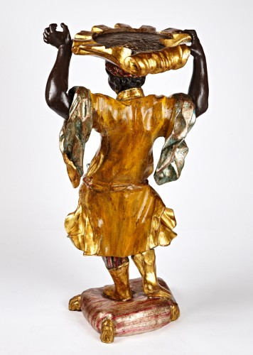 Venetian Rococo stand of a Blackamoor holding a shell - Decorative Objects Style