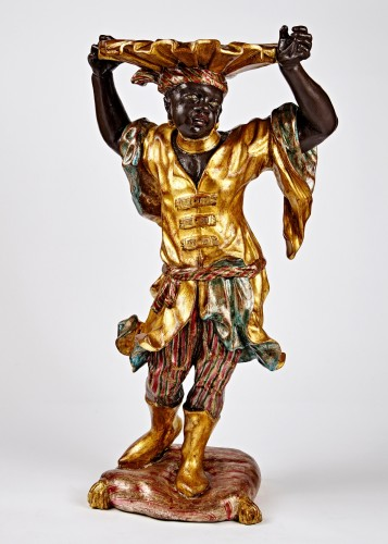 Decorative Objects  - Venetian Rococo stand of a Blackamoor holding a shell