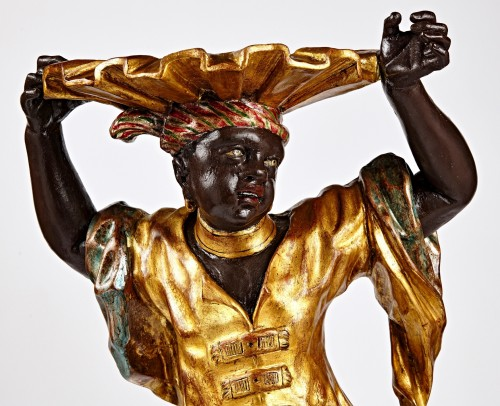 Venetian Rococo stand of a Blackamoor holding a shell -