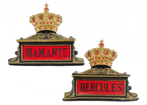 Eight Spanish antique painted tole horse stable name plates