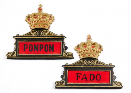 Eight Spanish antique painted tole horse stable name plates  -