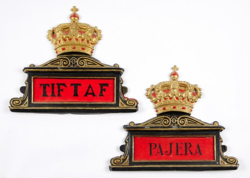 19th century - Eight Spanish antique painted tole horse stable name plates