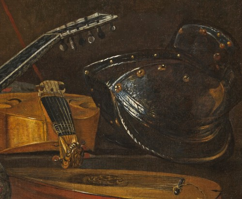 Italian still life of musical instruments attributed to Bartolomeo Bettera - Paintings & Drawings Style