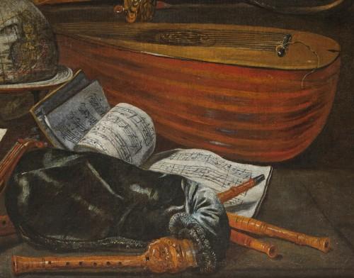 Italian still life of musical instruments attributed to Bartolomeo Bettera -