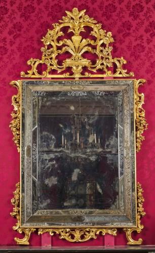 A large Venetian baroque gilt wood mirror circa 1720 -