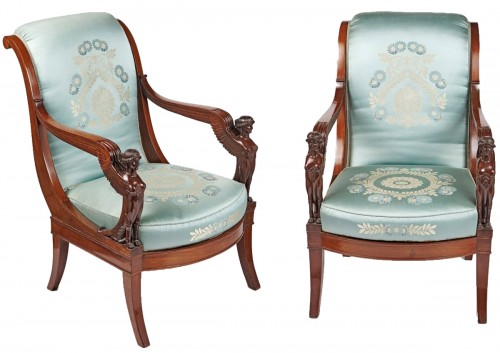 A pair of French Empire mahogany armchairs with winged sphinxes