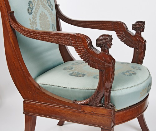 Seating  - A pair of French Empire mahogany armchairs with winged sphinxes
