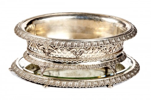 A German silver jardiniere on its tray from Breslau