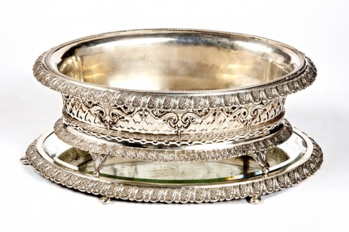A German silver jardiniere on its tray from Breslau -