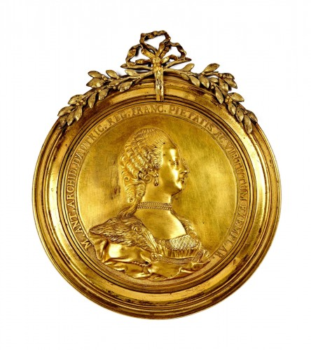 A gilt bronze medallion of Queen Marie Antoinette