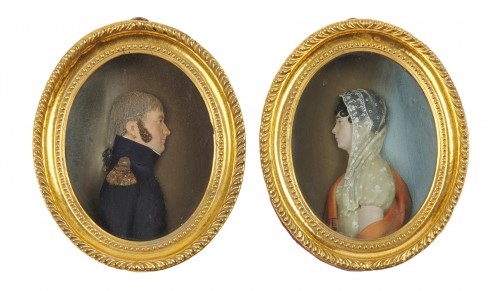 A pair of French neoclassical wax profiles, Consulate period