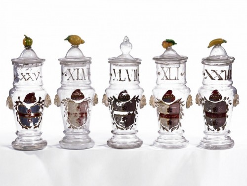 A set of five Venetian glass apothecary jars circa 1850