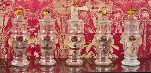A set of five Venetian glass apothecary jars circa 1850 - Glass & Crystal Style