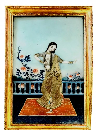 A late 18 century Chinese export underglass painting of an Indian dancer