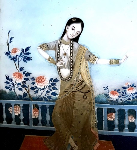 A late 18 century Chinese export underglass painting of an Indian dancer - Asian Art & Antiques Style