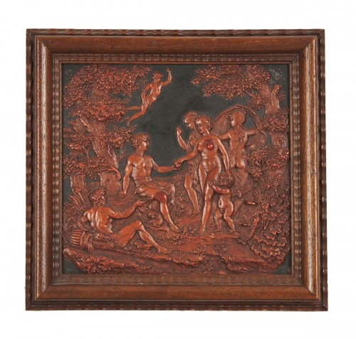A Flemish wax on slate panel The judgement of Paris circa 1800