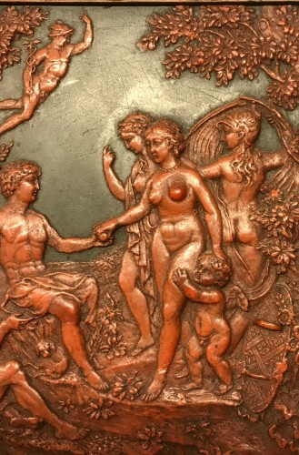 Curiosities  - A Flemish wax on slate panel The judgement of Paris circa 1800