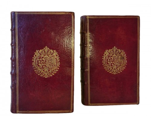 Two red leather bindings with the arms of the First Dauphine 1745