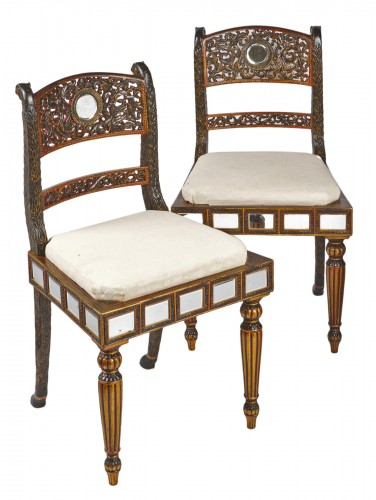 A pair of Anglo Indian lacquered chairs circa 1830