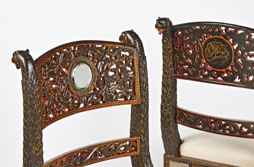 Seating  - A pair of Anglo Indian lacquered chairs circa 1830