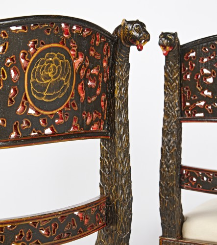 A pair of Anglo Indian lacquered chairs circa 1830 -