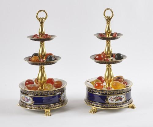 Porcelain & Faience  - A pair of French Paris porcelain surtout circa 1830