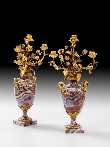 19th century - A pair of French bluejohn vases mounted as candelabra circa 1830