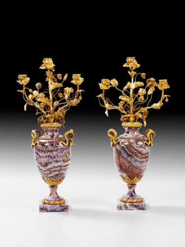 A pair of French bluejohn vases mounted as candelabra circa 1830 - Restauration - Charles X