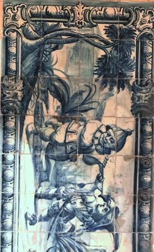 Porcelain & Faience  - A Portuguese azulejo panel with children or dwarfs 18th century