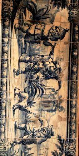 18th century - A Portuguese azulejo panel with children or dwarfs 18th century