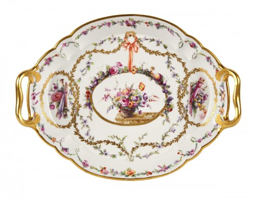 A Sevres hardpaste porcelain oval Hebert tray dated 1773
