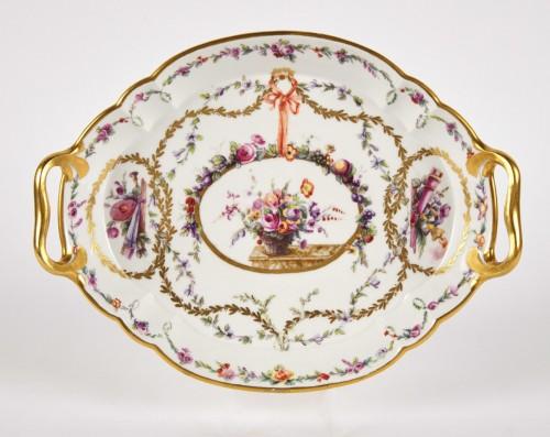 A Sevres hardpaste porcelain oval Hebert tray dated 1773 -