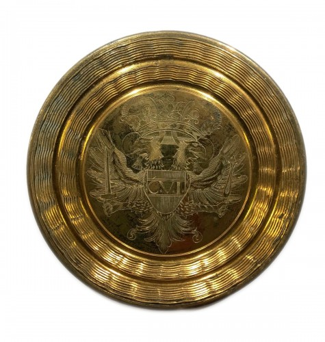 Gilt bronze circular lid for the big seal of Emperor Charles VI Habsburg