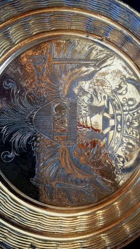Gilt bronze circular lid for the big seal of Emperor Charles VI Habsburg - Curiosities Style