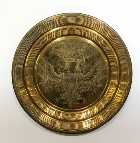Gilt bronze circular lid for the big seal of Emperor Charles VI Habsburg -