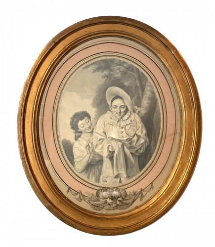 "An oval drawing by Louis Marie Sicardi "" Gluttony "" circa 1785"