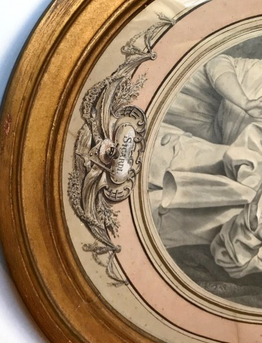 """An oval drawing by Louis Marie Sicardi """" Gluttony """" circa 1785 -"""