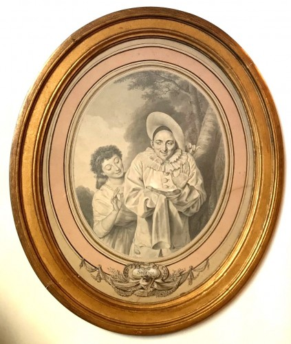 """18th century - An oval drawing by Louis Marie Sicardi """" Gluttony """" circa 1785"""