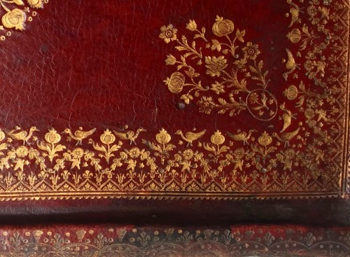 Curiosities  - A French Louis XV period gilt tooled red leather portable altar