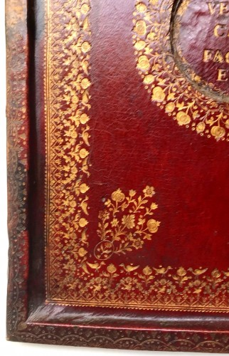A French Louis XV period gilt tooled red leather portable altar -