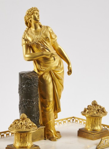 Decorative Objects  - A French Directoire marble and ormolu desk inkwell