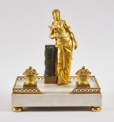 A French Directoire marble and ormolu desk inkwell -