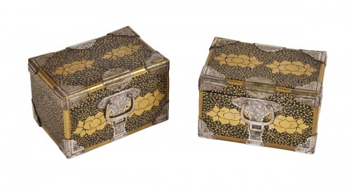 A pair of Japanese lacquer caskets 19th century