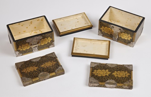 Asian Works of Art  - A pair of Japanese lacquer caskets 19th century