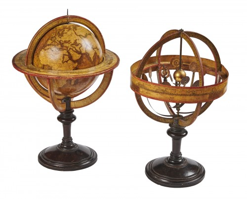 A pair of terrestrial globe and planetarium by Delamarche dated 1821
