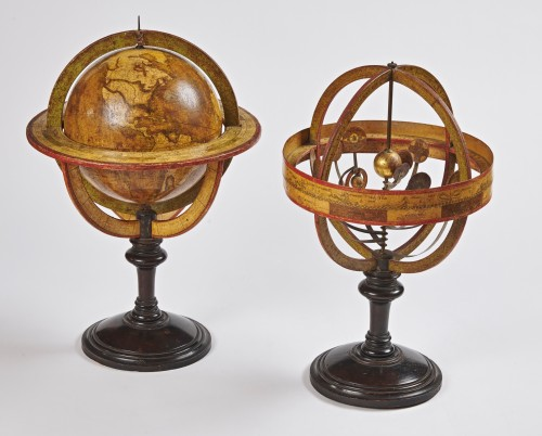 A pair of terrestrial globe and planetarium by Delamarche dated 1821 -
